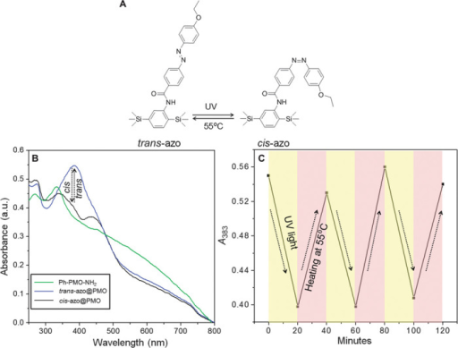 Photoisomerization of azo@PMO.(A) Schematic representation of reversible isomerization between trans-azo@PMO and cis-azo@PMO under light irradiation and heat. a.u., absorbance units. (B) UV/Vis absorption spectra of Ph-PMO-NH2, cis-azo@PMO, and trans-azo@PMO (1.5 mg ml−1 in aqueous solution). The changes in the UV/Vis absorption spectra due to the isomerization of trans-azo@PMO to cis-azo@PMO (1.5 mg ml−1) were recorded under the irradiation of 383-nm UV light for 20 min. (C) Absorbance changes of the UV/Vis spectra of azo@PMO at 383 nm as a function of cycles upon alternating UV light irradiation and heating at 55°C.