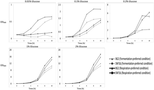 Growth profile of Candida glabrata BG2 and SNF3Δ in five difference glucose concentrations tested for both fermentation and respiration-preferred condition.