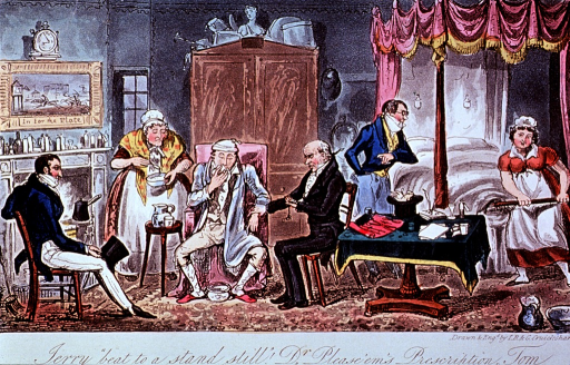 <p>Interior of bedroom: a patient is sitting in a chair, the physician next to him taking his pulse; to the left, a man sits holding a top hat, and a woman mixes gruel; to the right, a maid with a warming-pan flirts with a man next to the bed.</p>