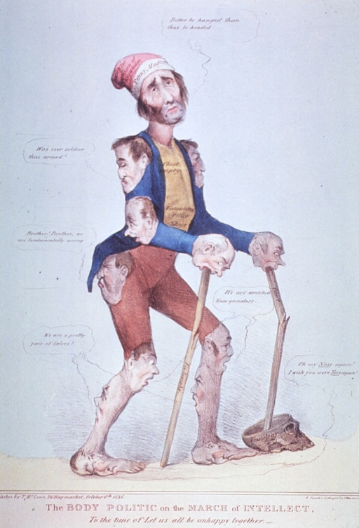 <p>Caricature of a male figure with human heads for joints, hands and feet; using two sticks as canes labelled Fee-losophy and Can't, which is stuck in a skull with cap removed and labelled Frenology.  The man says, &quot;Better be hanged than thus be headed.&quot;</p>