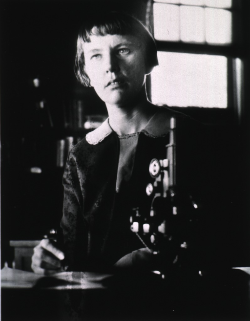 <p>Showing Ms. Deming seated at a microscope.</p>