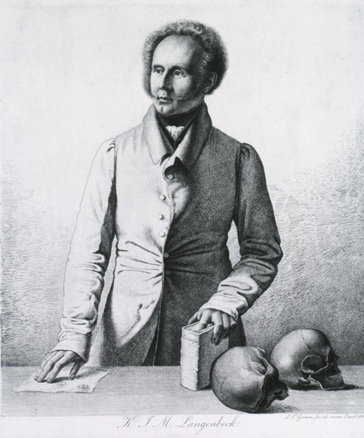<p>Half-length, standing at table, left pose; one hand on paper, other hand holding book; two skulls on table.</p>