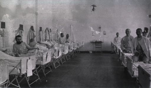 <p>Patients in a ward in a German Red Cross Hospital.</p>