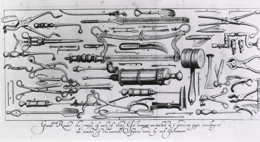 <p>Large variery of instruments needed by a ship's surgeon.</p>