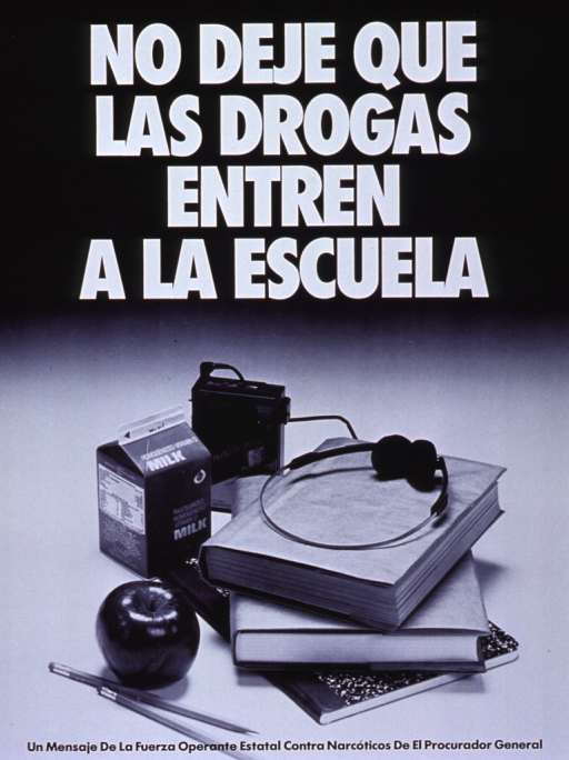 <p>Black and white poster.  Title at top of poster in white lettering.  Dominant visual image at bottom of poster is a reproduction of a b&amp;w photo showing school books, an apple, and a portable tape player with headphones.</p>