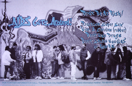 <p>The poster is a black and white photograph of an outdoor urban scene:  a row a people of various age groups and ethnicities standing in front of a wall illustrated with graffitti.  At the bottom is the AIDS Information Hotline number of New York City's Department of Health.  The lettering is in blue and turquoise.  (Another version of the same poster (PP046391) is printed with the text in Spanish).</p>