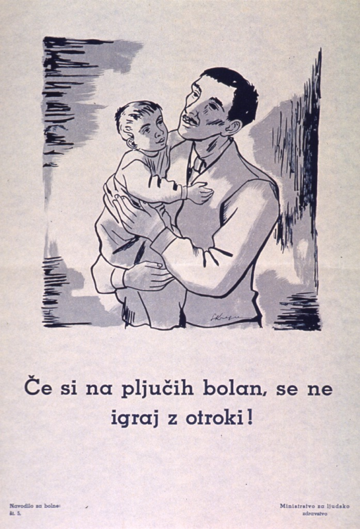 <p>Off-white poster with teal blue lettering.  Visual image is an illustration of a man holding a young boy.  Title below illustration appears to suggest that those with lung diseases not play with (be close to?) children.  Series statement in lower left corner.  Publisher information in lower right corner.</p>