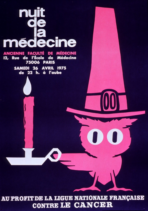 <p>Purple poster with white and pink lettering.  Title in upper left corner.  Additional text below title announces location, date, and time of the party.  Visual image is an illustration of an owl wearing a tall hat with a buckle and holding a candle.  Note text at bottom of poster indicates that the party will benefit a French cancer organization.</p>