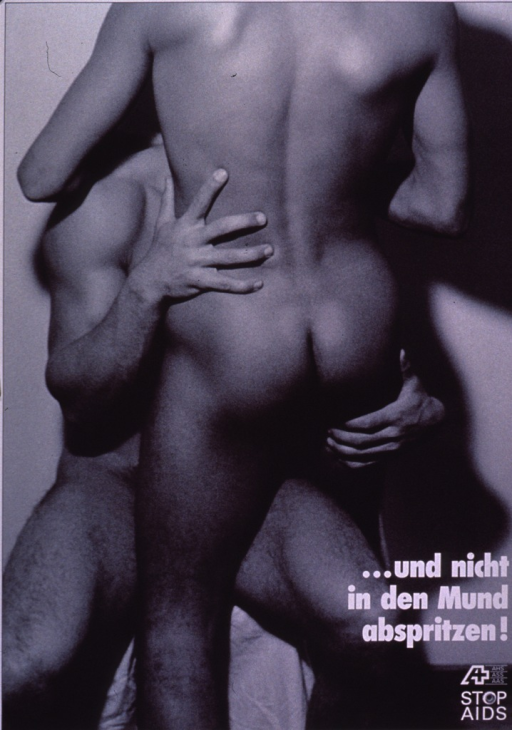 <p>Black and white poster, the visual showing two males facing each other, engaging in sexual activity. The STOP AIDS logo is at the bottom of the poster.</p>