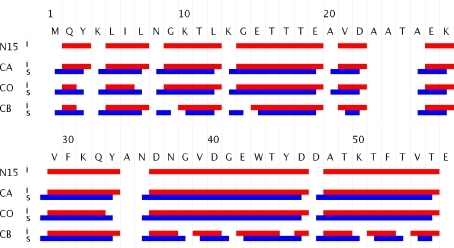 Automated resonance assignments of β1 immunoglobulin binding domain of protein G. Resonances derived from intra experiments are indicated in red. Resonances derived from sequential experiments are indicated in blue