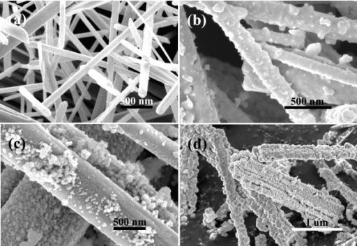 FE-SEM images of the as-synthesized samples at different time intervals: (a) 3 h, (b) 6 h, (c) 12 h, and (d) 18 h.