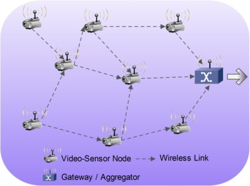 Typical self-organizing wireless VSN.