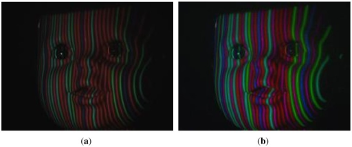 An example of adaptive albedo calibration. (a) face model under illumination patterns; (b) calibrated image of face model; (c,d) histograms of (a,b) respectively.