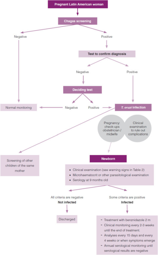 Pathway for screening and diagnosis in pregnant women and newborns. (Source: Protocol for screening and diagnosing Chagas disease in pregnant Latin American and their newborns.pdf; accessed 6 May 2014).