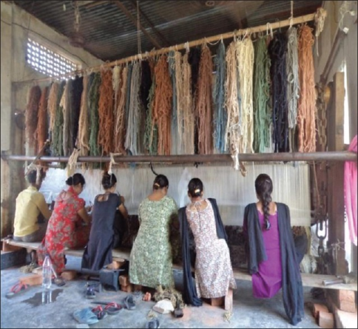 Weavers working with awkward postures