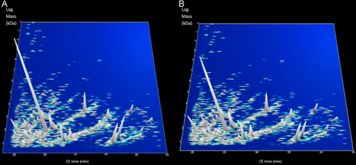 Compiled 3-dimensional depiction of urinary peptide profile for non-OSA (A) and OSA-on-CPAP (B). The X axis represents CE migration time (min), Y-axis represents molecular mass (KDa, on a logarithmic scale), and the Z-axis represents mean signal intensity. (A) Non-OSA. (B) OSA-on-CPAP.