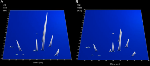 3-dimensional profile of 15 peptides that showed significant differences between non-OSA (A) and OSA-on-CPAP (B) groups. The X axis represents CE migration time (minutes), Y-axis represents molecular mass (KDa, on a logarithmic scale), and the Z-axis represents mean signal intensity. In order to demonstrate differences between the 15 peptides, Figs. 2 and 3 are not of similar scale. (A) Non-OSA. (B) OSA-on-CPAP.