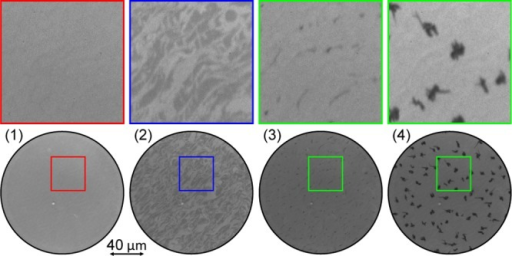 Selected PEEM images recorded during the depositionof α-6Ton a Ag(111) surface held at 331 K (Figure 2). The images were taken at times 1–4marked in Figure 2:(1) maximum intensity of the PEEM transient, corresponding to thecompletion of the first α-6T monolayer; (2) half way duringthe formation of the second monolayer; (3) onset of 3D growth aftercompletion of the second monolayer; and (4) thick film (nominal coverage∼8 ML) showing α-6T crystallites on top of the 2 ML thickwetting layer. The images of the lower row correspond to a field ofview of 145 μm. The images in the top row show an enlarged viewof the 40 × 40 μm2 area indicated in the imagesin the bottom row. The color coding of the frames matches the onein Figure 4. The fullimage sequence is available as Supporting Information.