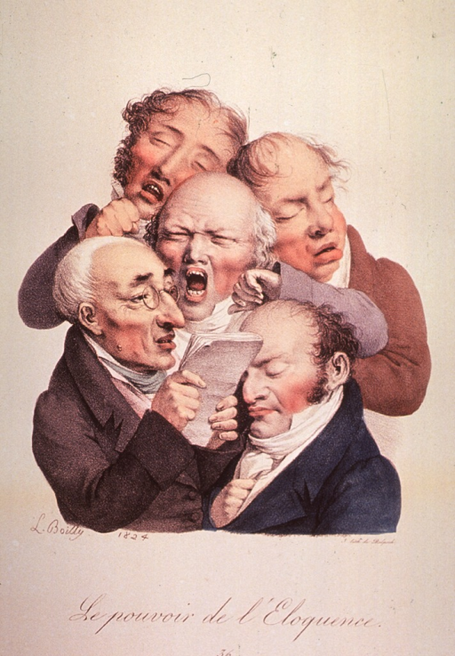 <p>Caricature of facial expression; group of men, one is reading to the others who are all showing signs of boredom.</p>