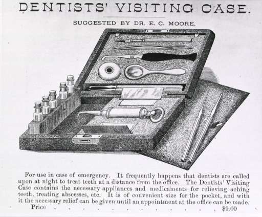 <p>Dentists' visiting case (opened, showing instruments) - suggested by Dr. E.C. Moore.</p>