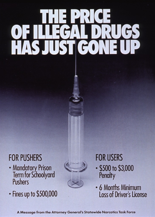 <p>Black and white poster.  Title at top of poster in white lettering.  Dominant visual image is a reproduction of a b&amp;w photo of a syringe standing on end.  Caption at bottom of poster on both sides of the photo.</p>