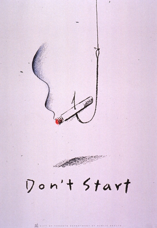 <p>Predominantly white poster with black lettering.  Visual image is an color illustration of a dangling fish hook that has speared a burning cigarette.  Title below illustration.  Publisher information at bottom of poster.</p>