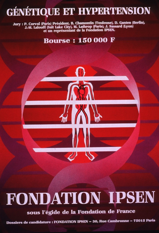 <p>Predominantly red-tone poster with white lettering.  Title at top of poster.  Additional text below title announces the jury for a competition and amount of the prize.  Visual image is an illustration incorporating three double helices and a human figure with the major blood vessels depicted.  Publisher and sponsor information, along with address for applications, at bottom of poster.</p>