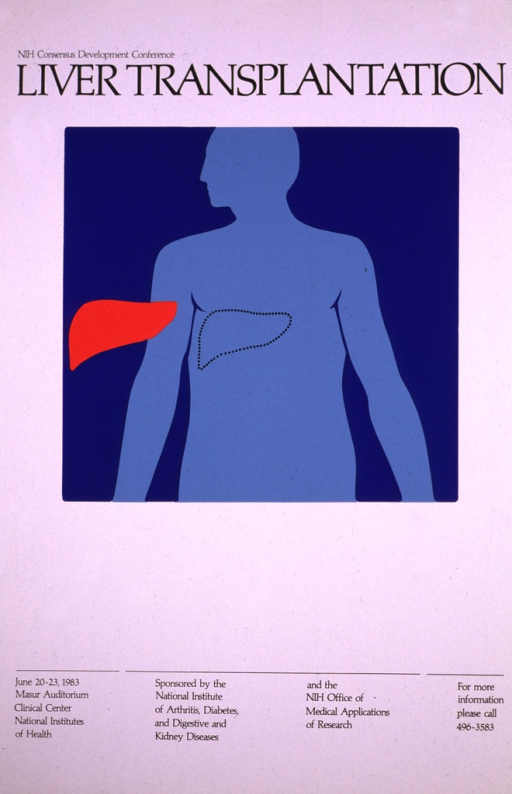 <p>White poster with a dark blue square in the upper half.  There is an outline of a human figure from the head to the waist in a lighter blue.  There is a red &quot;liver&quot; to the left of the outline which has been &quot;extracted&quot;, and the area where it belongs on the human body is outlined in black dots.  The date (June 20-23, 1983) and location for the speeches are given along with a phone number for further information.</p>