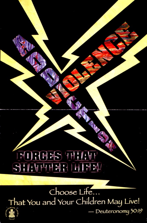 <p>Predominantly black poster with multicolor lettering.  Initial title words in center of poster, intersecting at the first &quot;i&quot; in addiction.  The words are surrounded by jagged yellow lines suggestive of lightning bolts.  Remaining title text and note below.  Publisher information in lower left corner.  Verso of poster provides suggestions and resources for an addiction awareness week in the Presbyterian Church (U.S.A).</p>