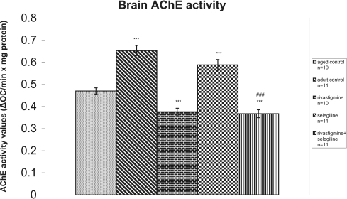 Effects of rivastigmine, selegiline, and rivastigmine + selegiline on brain AChE activity. AChE activities were determined in each homogenized rat whole brain. Values of the groups of aged control rats and of rivastigmine indicate the mean ± standard error (SE) of ten independent experiments (ten rats). Values of the groups of adult control rats, of selegiline and of rivastigmine + selegiline indicate the mean ± SE of eleven independent experiments (eleven rats). The average value of each experiment arises from three determinations.Notes: ***P < 0.001 compared with aged control group; ###P < 0.001 compared with selegiline-treated group.