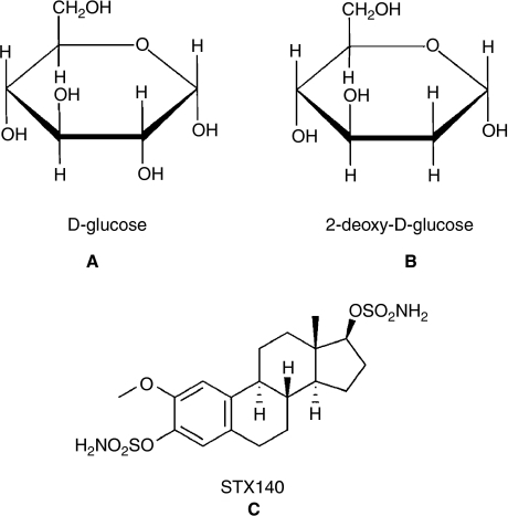 Structures of glucose (A) and 2DG (B). Glucose and 2DG differ at the second carbon. Chemical structure of STX140 (C).