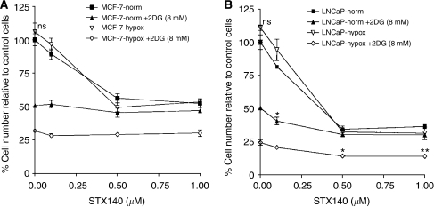 Effects of 2DG and STX140 on the proliferation of MCF-7 (A) and LNCaP (B) cells. Cells were cultured in 96-well plates, under normoxia or hypoxia, and treated with 2DG (8 mM) and/or STX140 (0.1–1 μM) for 72 h when their effects on proliferation were measured by using a microtitre plate assay. Results are expressed as percent of proliferation of untreated cells in normoxia. In both cell lines 2DG alone was significantly (P<0.001) more potent in hypoxia vs normoxia. There was no significant benefit of 2DG+STX140 in MCF-7 cells. In LNCaP cells under normoxia, 2DG+0.1 μM STX140 gave significantly greater inhibition than 2DG alone (*P<0.05) and 0.1 μM STX140 alone (P<0.001). Under hypoxia, 2DG+0.5 μM STX140 and 2DG+1.0 μM STX140 gave significantly greater inhibition than 2DG alone (*P<0.05 and **P<0.01) and 0.5 and 1.0 μM STX140 alone (P<0.001) (ns=not significant vs untreated normoxia).