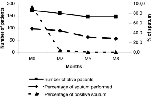 Sputum examination during the follow-up of tuberculosis patients in Attapeu, Lao PDR. Not all patients underwent a sputum examination which possibly underestimated the number of positive sputum over time.