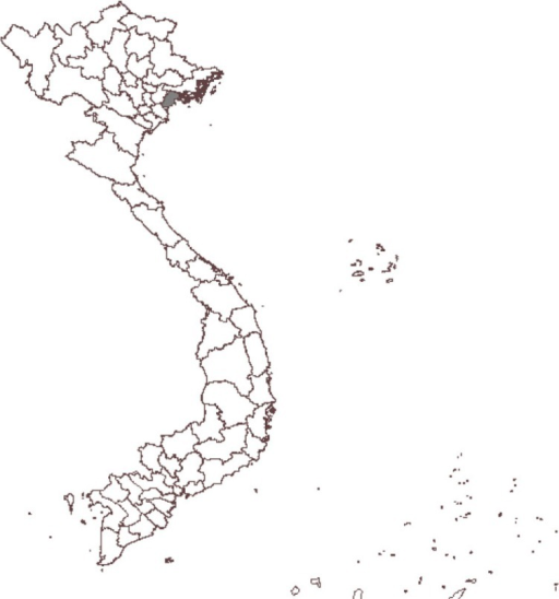 Map of Vietnam showing Haiphong province (in dark grey area).
