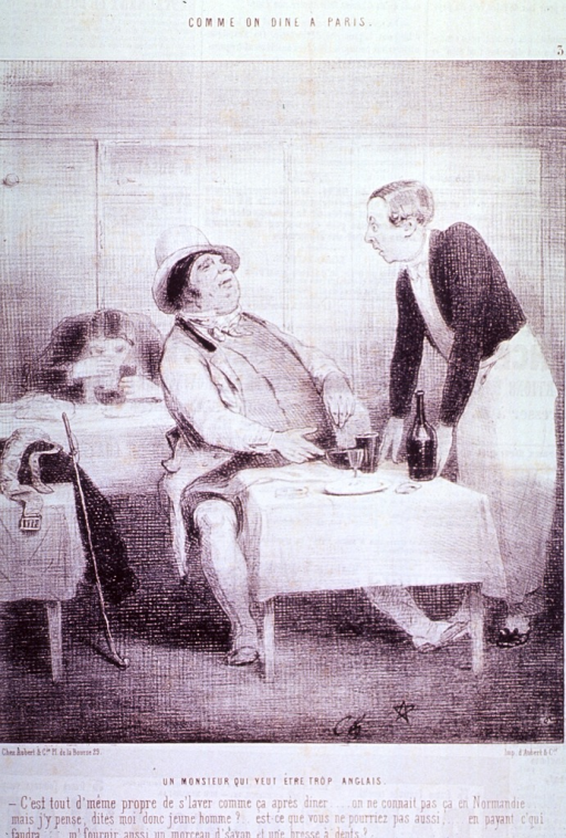 <p>A bourgeois sitting at a table in a Paris restaurant addresses the waiter; on the table is a bottle and a glass.</p>