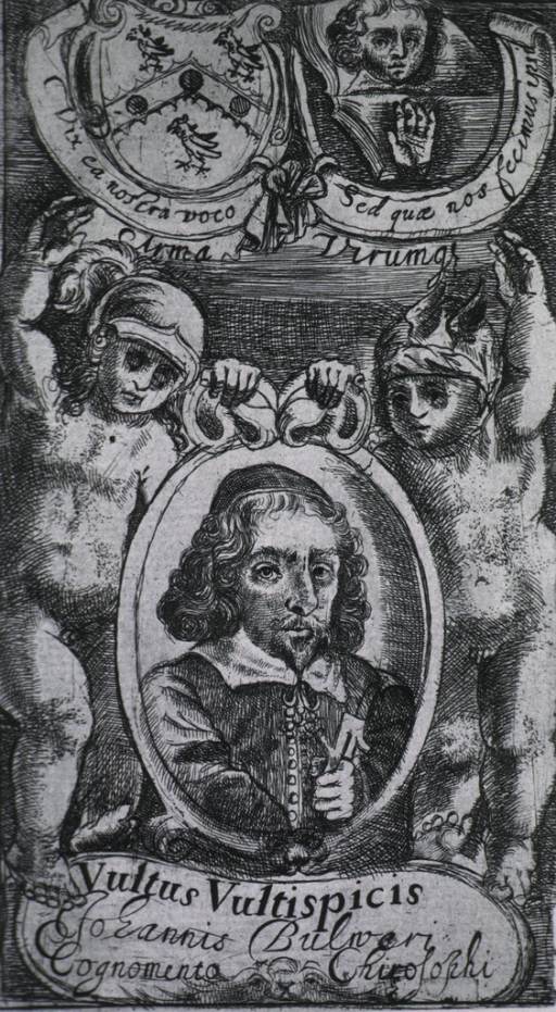 <p>Head and shoulders, in oval, surrounded by figures and scrolls.</p>