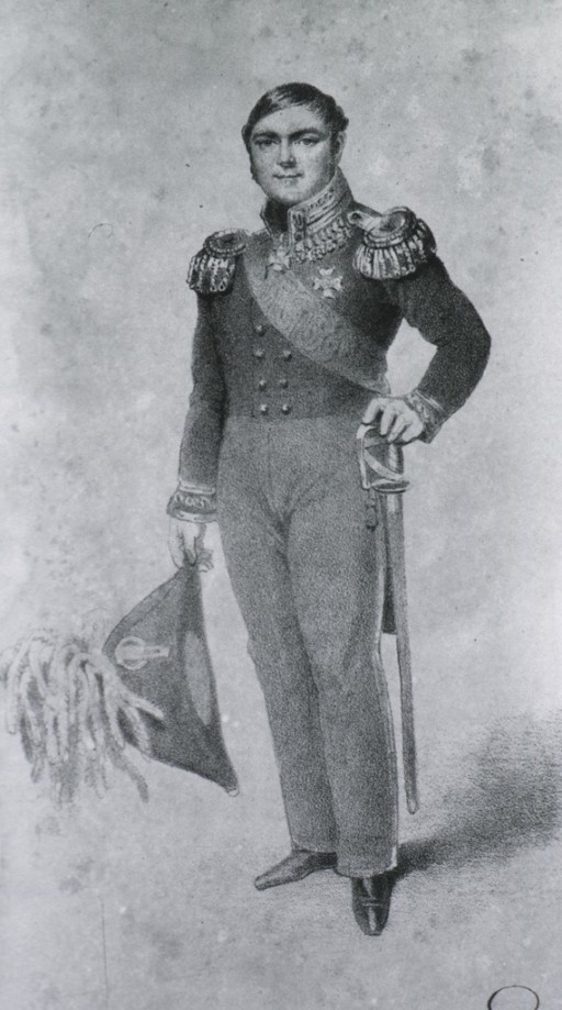 <p>Full length, standing, left pose, full face; wearing uniform, holding hat in one hand and other hand on sword.</p>