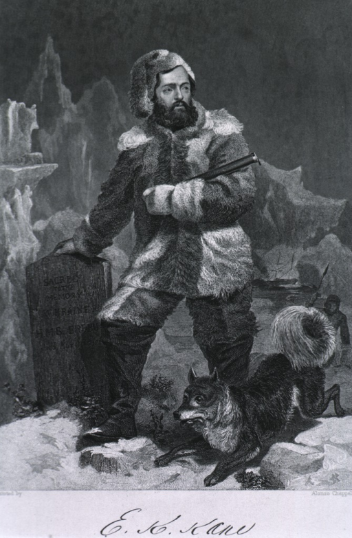 <p>Full length, standing, full face; shown in the Arctic Ice Pack, with dog; holding telescope; one hand on grave marker.</p>