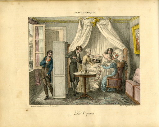 <p>A &quot;dispirited woman&quot; is in bed facing her attendants.  Her hand is extended signalling stop as she is presented with a hat from a box on the floor.  A man is creating a potion at a table nearby.  A second man is leaning behind a screen holding his heart.</p>