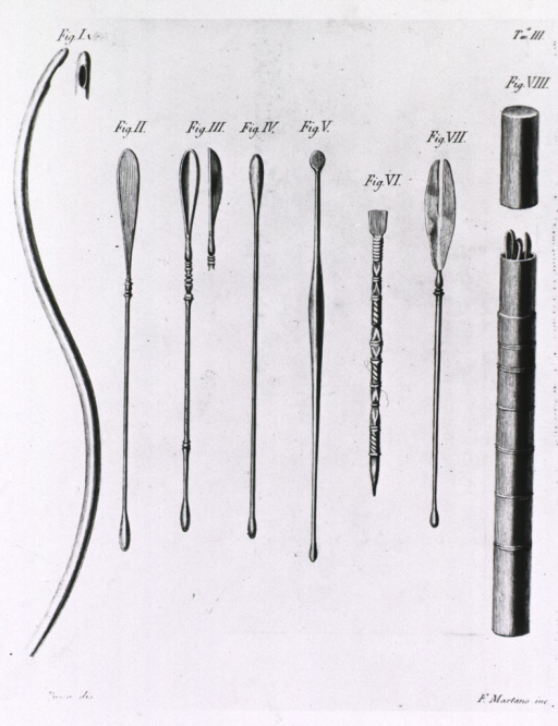 <p>Several types of probes and scoops; also shown is a carrying/storage case.</p>