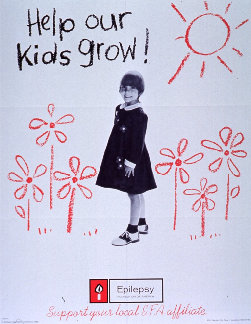<p>White poster with black and red lettering.  Title in upper left corner.  Visual image is in part a reproduction of a b&amp;w photo of a young girl, standing in profile.  Crayon illustrations of large flowers and the sun surround the girl.  Publisher name and logo below photo.  Note below logo.  Publisher information at bottom of poster.</p>