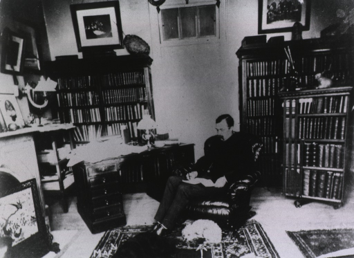 <p>Full-length, sitting in a chair in his library, in his house in Georgetown, writing a letter, two dogs sleeping at his feet.</p>