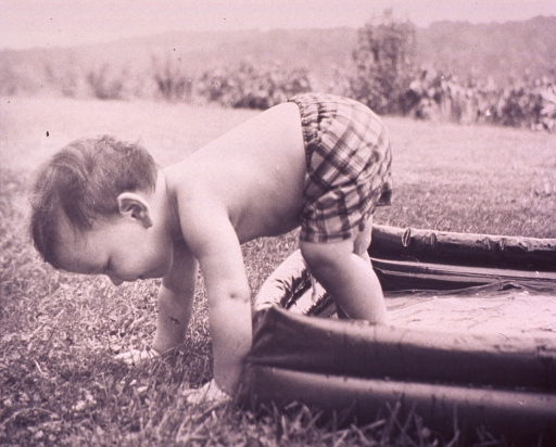<p>Child climbing out of a plastic swimming pool; both feet are in the pool, both hands on the ground outside the pool.</p>