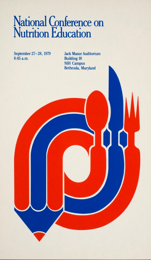 <p>The logo of the Nutrition Coordinating Committee, a red, white, and blue oval form with a spoon, knife, and fork on one end and a pencil-like point on the other end, is the focus of the poster.</p>