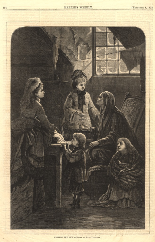 <p>Two well-dressed women offer alms and a basket of food to a sick woman who sits covered in a shawl in run-down quarters.  A young child stands at a table and looks at the basket of food, while another child, also apparently sick, sits on the floor next to the chair in which the sick woman sits.</p>