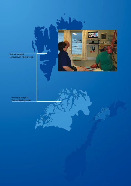 Trauma mentoring. The trauma surgeons are located at the university hospital in northern Norway 600 miles away and have remote control of two cameras in the trauma room in Spitsbergen (one camera at the wall and one camera directly above the patient)