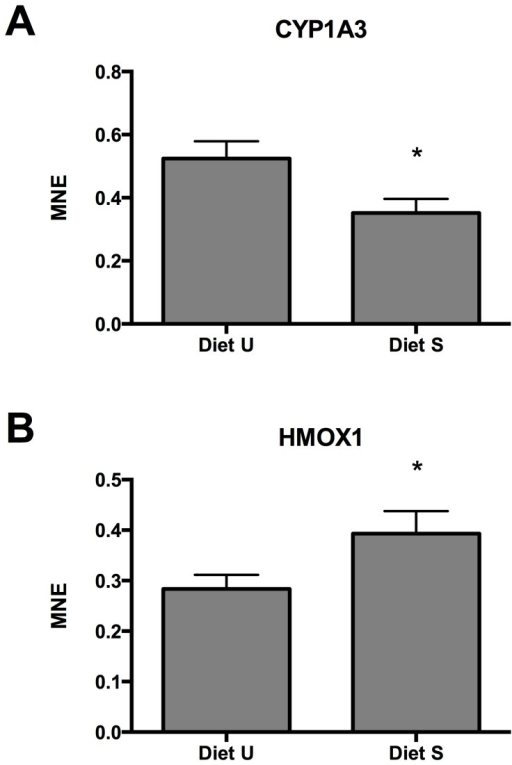 Significantly different expression of A) cyp1a3, and B) hmox1 in liver of rainbow trout fed diets with unsupplemented (Diet U) or supplemented (Diet S) levels of a vitamin and mineral premix.(Mean ± SEM). * P<0.05.