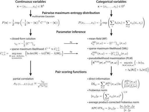 Scheme of pairwise maximum-entropy probability models.The maximum-entropy probability distribution with pairwise constraints for continuous random variables is the multivariate Gaussian distribution (left column). For the maximum-entropy probability distribution in the categorical variable case (right column), various approximative solutions exist, e.g., the mean-field, the sparse maximum-likelihood, and the pseudolikelihood maximization solution. The mean-field and the sparse maximum-likelihood result can be derived from the Gaussian approximation of binarized categorical variables (thin arrow). Pair scoring functions for the continuous case are the partial correlations (left column). For the categorical variable case, the direct information, the Frobenius norm, and the average product-corrected Frobenius norm are used to score pair couplings from the inferred parameters (right column).