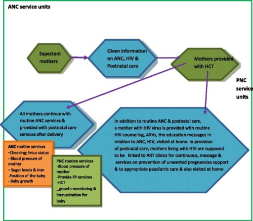 A simple flow chart to illustrate what was expected to be provided to expectant mothers in integrating HIV into ANC and postnatal care services at district hospitals and health center IVs