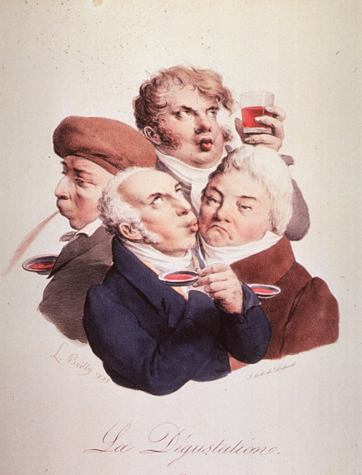 <p>Caricature of wine tasters; group of four depicting the various stages of wine tasting.</p>